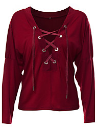 Women's Lace up Going out / Casual/Daily / Formal Sexy Fall / Winter T-shirt,Solid Deep V Long Sleeve Red / Green Cotton