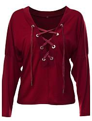 Feminino Camiseta Informal / Casual Sensual Outono / Inverno,Sólido Vermelho / Verde Algodão Decote em V Profundo Manga Longa