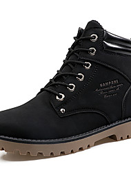 Men's Boots Comfort Combat Boots PU Fall Winter Casual Comfort Combat Boots Lace-up Flat Heel Black Yellow Light Brown Flat