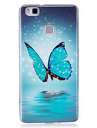 baratos -Para Case Tampa Brilha no Escuro IMD Estampada Capa Traseira Capinha Borboleta Macia PUT para Huawei Huawei P9 Lite Huawei P8 Lite