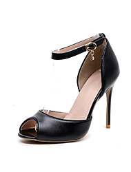 cheap -Women's Shoes Leather Spring / Fall Ankle Strap Heels Stiletto Heel Peep Toe Crystal / Buckle Black / Party & Evening / Party & Evening
