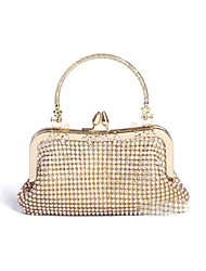Women Bags All Seasons Satin Evening Bag Crystal/ Rhinestone for Wedding Event/Party Formal Golden
