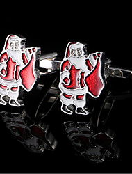 Santa Claus Cufflinks For Men French Shirt Cuff Links Christmas Gifts Cuff Buttons Present Jewelry With Gift Box