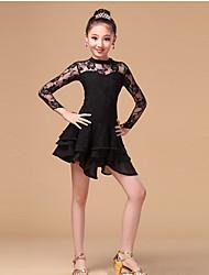 Latin Dans Kjoler Børne Træning Blonde Mælkefiber Blonde Flæser 1 Stykke Langt Ærme Høj Kjole