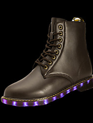 cheap -Men's Shoes PU Winter Fall Comfort Boots Lace-up LED For Casual Black Silver