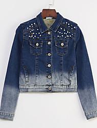 cheap -Women's Solid Blue Slim Thin Beads Short Demin Jacket , Vintage Casual / Cute