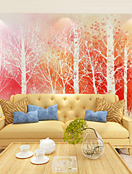 JAMMORY Art DecoWallpaper For Home Wall Covering Canvas Adhesive required Mural Cartoon Red Woods XL XXL XXXL