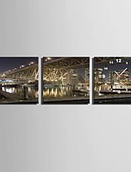Moderno/Contemporaneo Altro Orologio da parete,Quadrato Tela 25 x 25cm(10inchx10inch)x3pcs Al Coperto Orologio