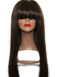 10-26 Inch 130% Density 13*6 Lace Front Wig Virgin Brazilian Natural Color Straight Human Hair Wig With Bangs