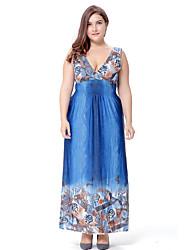 SWEET CURVE Women's Plus Size Boho Swing Dress,Print Deep V Maxi Short Sleeve Blue Green Polyester Spandex Spring Summer High Rise Micro-elastic