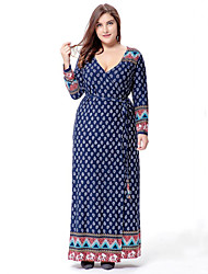 cheap -SWEET CURVE Women's Plus Size Boho Swing Dress,Print Deep V Maxi Long Sleeve Blue Cotton Polyester Spring Mid Rise Micro-elastic Medium