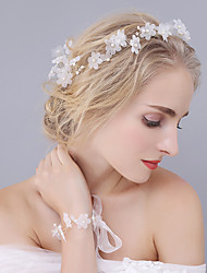 Tulle Crystal Imitation Pearl Tiaras Headbands Flowers Headpiece