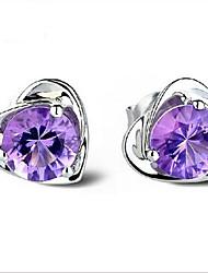 abordables -Pendientes en forma de corazón de plata 925 amatista estilo femenino clásico