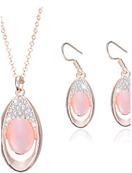 Bijoux 1 Paire de Boucles d'Oreille Colliers décoratifs Strass Mariage Soirée Alliage Opale 1set Femme Rose Bonbon Cadeaux de mariage
