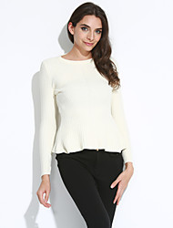 cheap -Women's Long Sleeves Cotton Pullover - Solid Colored, Peplum Crew Neck