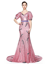 cheap -Mermaid / Trumpet V-neck Floor Length Sequined Formal Evening Dress with Sash / Ribbon Sequins Pleats by TS Couture®