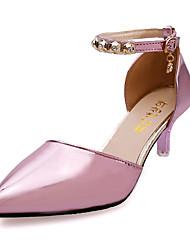 cheap -Women's Sandals Fall Winter Comfort PU Casual Low Heel Slip-on Pink Purple Silver Gold