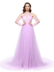 A-Line Jewel Neck Floor Length Chiffon Formal Evening Dress with Pleats by TS Couture®