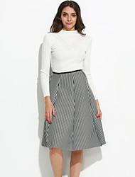 abordables -Mujer Blusa Conjunto - A Cuadros, Frunce Plisado Falda
