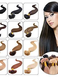 baratos -Febay Queratina / Ponta U Extensões de cabelo humano Liso Cabelo Humano Cabelo Peruviano Vinho Azul Marrom Médio