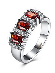 Prsten Kubický zirkon Zirkon Měď Titanová ocel imitace Diamond Červená Šperky Denní Ležérní 1ks