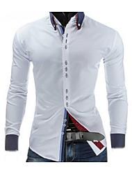 baratos -Masculino Camisa Social Para Noite Trabalho Casual Primavera,Sólido Algodão Colarinho de Camisa Manga Longa Média