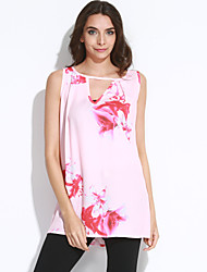 Women's Going out Simple Loose DressFloral V Neck Mini Sleeveless Pink Polyester Summer Mid Rise Inelastic Thin