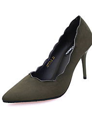 cheap -Women's Heels Fall Winter Comfort PU Casual Low Heel Slip-on Black Green Gray