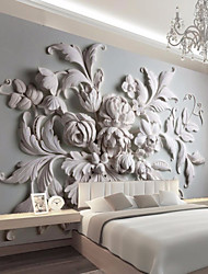 cheap -JAMMORY Embossed White Large Flower Decoratio 3D Fashion Wallpaper Personality Wallpaper Mural  Wall Covering Canvas Material Golden ChurchXL XXL XXXL