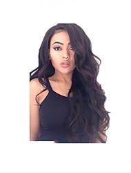 Недорогие -человеческие волосы Remy Полностью ленточные Парик Средняя часть Бразильские волосы Волнистый Парик 130% Плотность волос с детскими волосами Природные волосы Парик в афро-американском стиле 100