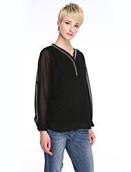 cheap -Women's Plus Size T-shirt - Solid Colored Beaded V Neck