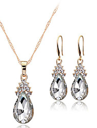 cheap -Women's Crystal Rhinestone Jewelry Set 1 Necklace 1 Pair of Earrings - European Drop White Red Blue Jewelry Set For Wedding Party Daily