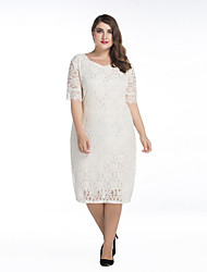 cheap -SWEET CURVE Women's Party Street chic Lace Dress,Solid Round Neck Knee-length Polyester Spring Mid Rise Micro-elastic Medium