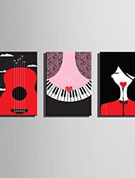 Kanvas Sæt Mennesker Tegneserie Moderne,Tre Paneler Kanvas Vertikal Kunsttryk Vægdekor For Hjem Dekoration