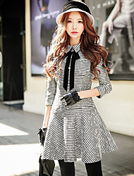 Women's Going out Casual Daily Holiday Street chic Sophisticated Punk & Gothic A line Sheath Dress Bow Ruched Pleated 3/4 Sleeve