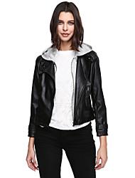 Damen Solide Einfach Lässig/Alltäglich Übergröße Lederjacken Langarm Schwarz PU