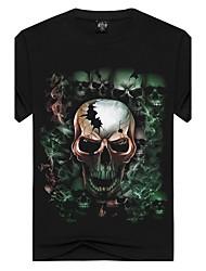 Masculino Camiseta Para Noite Esportivo Férias Simples Activo Punk & GóticasEstampado Preto Algodão Elastano Decote Redondo Manga Curta