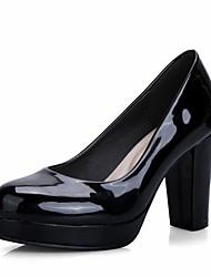 Mulheres Sapatos Sintético Courino Couro Ecológico Primavera Verão Conforto Inovador Chanel Saltos Caminhada Salto Robusto Ponta Redonda