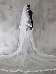 cheap -Two-tier Lace Applique Edge Wedding Veil Shoulder Veils Elbow Veils Fingertip Veils Chapel Veils Cathedral Veils 53 Sequin Appliques Lace