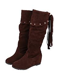 Women's Heels Spring Comfort Suede Casual Chunky Heel Applique Black Red Gray Walking