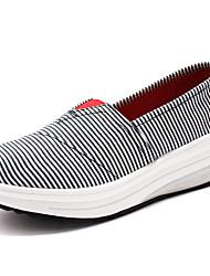 Damen-Loafers & Slip-Ons-Outddor Lässig Sportlich-Leinwand-KeilabsatzGrau Rot