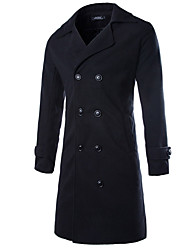 cheap -Men's Long Overcoat - Solid Colored Shirt Collar
