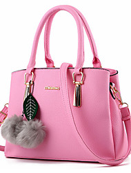 cheap -Women's Bags PU Tote Zipper Beading Fur for Formal Office & Career Outdoor All Seasons Fuchsia Blue Pink Wine Lavender