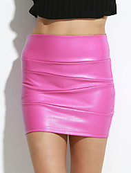 cheap -Women's Going out Mini Skirts, Casual Bodycon PU Solid Spring Fall