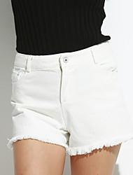abordables -Mujer Casual Shorts Vaqueros Pantalones - Un Color