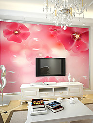 JAMMORY Art DecoWallpaper For Home Wall Covering Canvas Adhesive required Mural Pink Flowers XL XXL XXXL