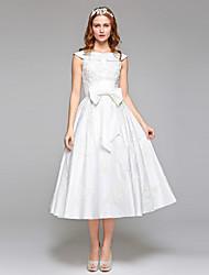 Linea-A Con decorazione gioiello Lunghezza tè Di pizzo Raso Vestito da sposa con Perline Di pizzo Con fiocco di LAN TING BRIDE®