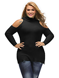 Women's Casual/Daily Going out Sexy Regular Pullover,Solid Blue Red Black Brown Green Turtleneck Long Sleeve Acrylic Fall Medium Stretchy