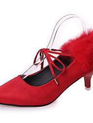 cheap -Women's Heels Fall Winter Comfort PU Casual Low Heel Lace-up Black Red Green