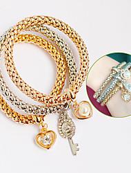 preiswerte -Damen Wickelarmbänder Lederarmbänder Freundschaft Kreuz Perle Leder Strass Imitation Diamant Liebe Golden Schmuck FürParty Alltag